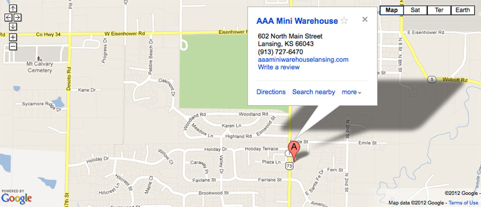 Google map of AAA Mini Warehouse in Lansing, KS