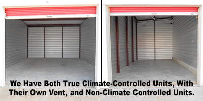 Interior of empty storage unit with vent for climate control